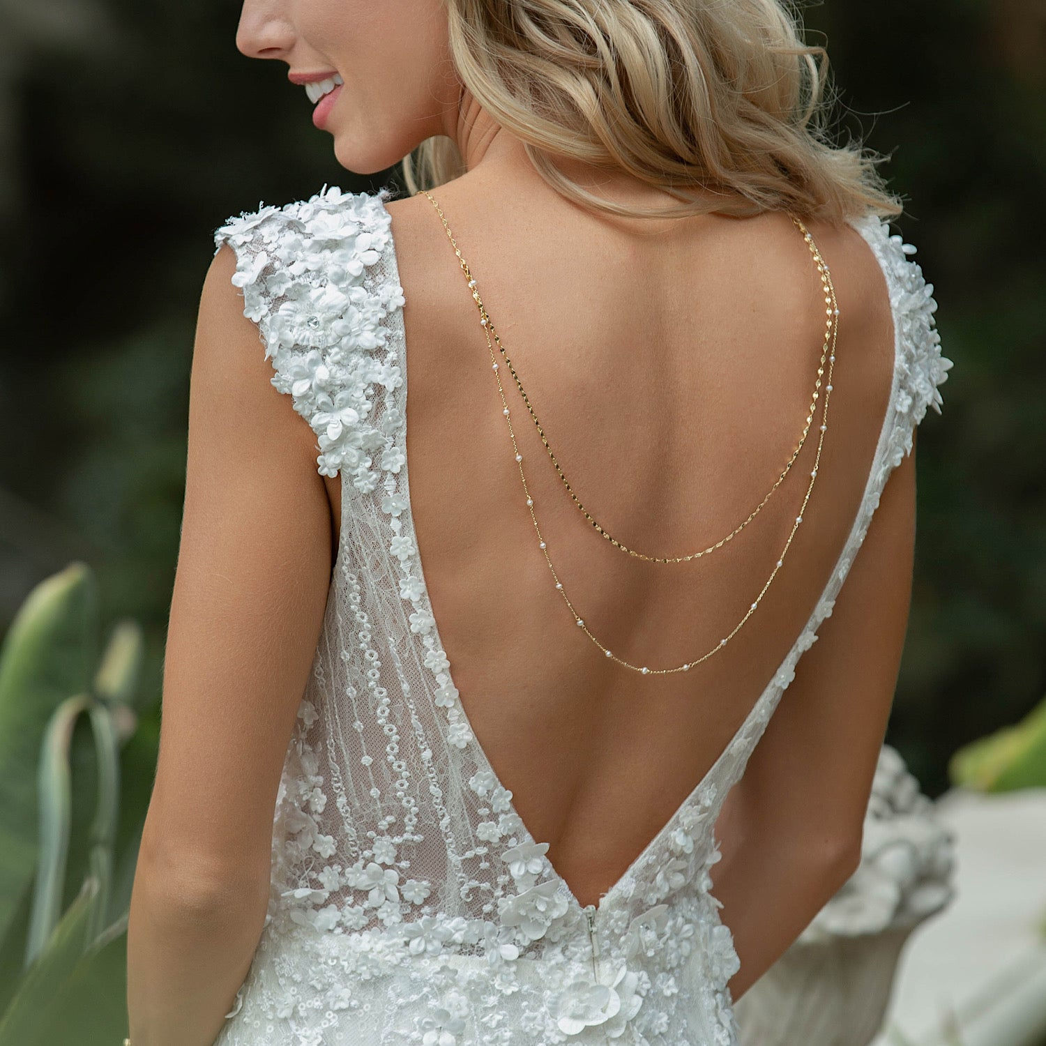Pearl Drape Back Necklace