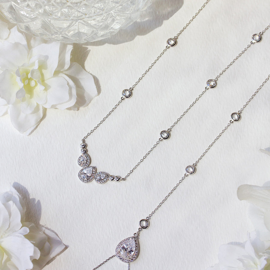 Margaux Trio Back Pendant Necklace - Amy O. Bridal