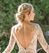 Fleur Crystal Back Pendant Necklace - Amy O. Bridal