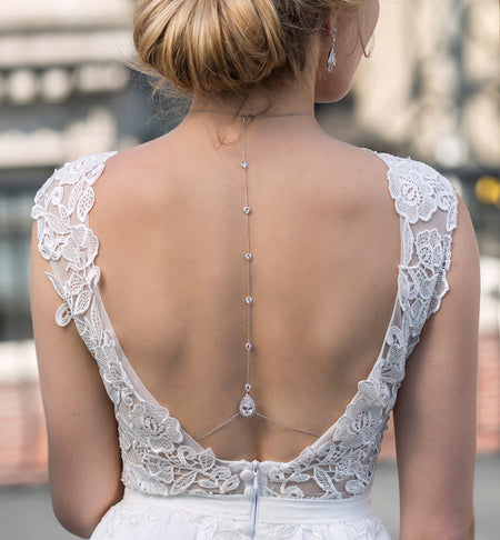 Margaux Lux Back Pendant Necklace - Amy O. Bridal