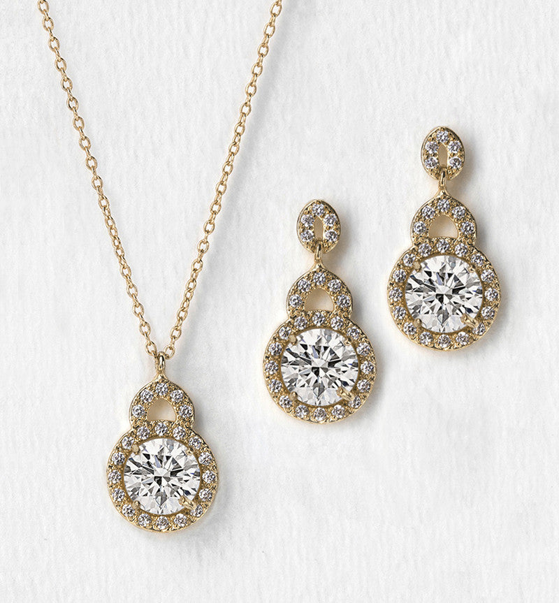 8bcdad30a Pendant Necklace and Crystal Earrings | Wedding Jewelry Set – AMY O Bridal