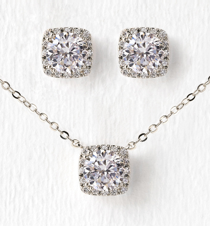 c7a631895 White Gold Crystal Necklace and Stud Earrings | Bridal Jewelry Set – AMY O  Bridal