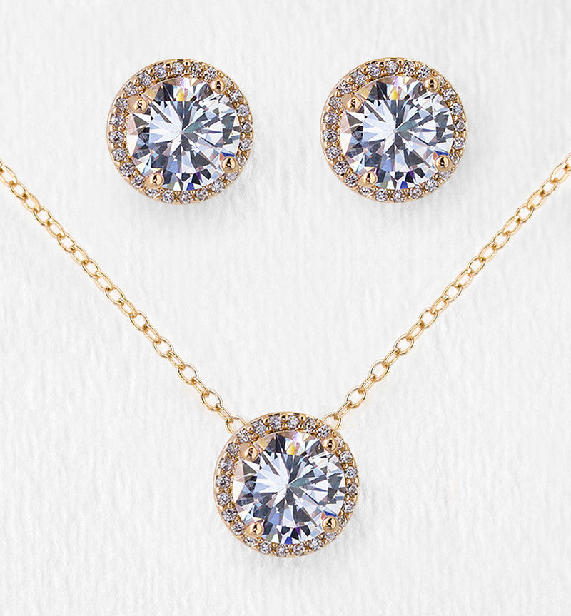 86d5a0a72 Gold Stud Earrings and Pendant Necklace | Bridal Jewelry Set – AMY O Bridal