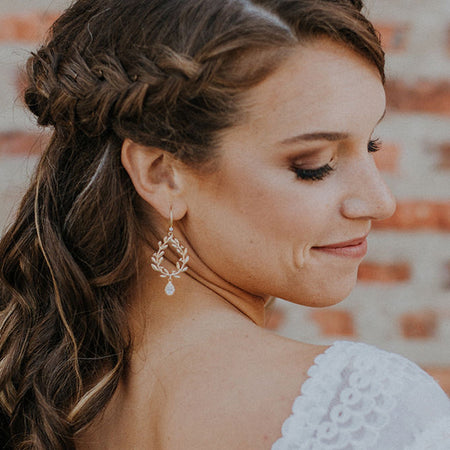 Ivy Halo Teardrop Earrings - Amy O. Bridal