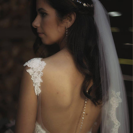 Marquise Back Pendant Necklace - Amy O. Bridal