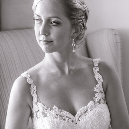 Jolie Vintage Pearl Long Drop Earrings - Amy O. Bridal