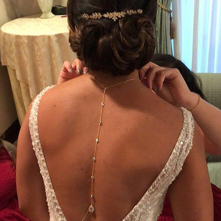 Margaux CZ Back Pendant Necklace - Amy O. Bridal