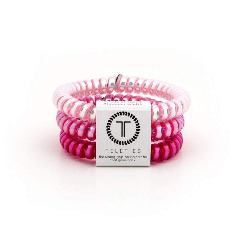 Small / Think Pink TELETIES 3 Pack Small - Madison + Mallory