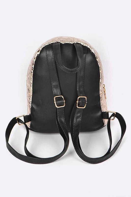 Sparkle Up Metallic Crinkle Backpack - Madison + Mallory