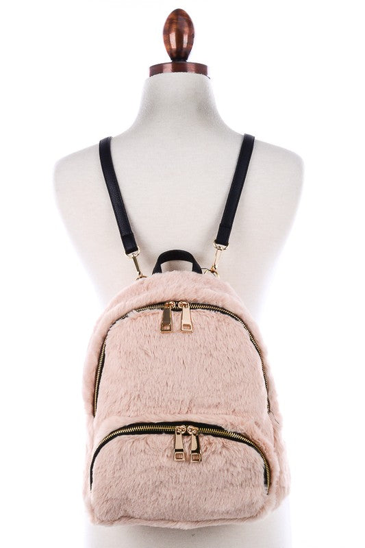 Faux Fur Gold Zip Backpack - FINAL SALE - Madison + Mallory