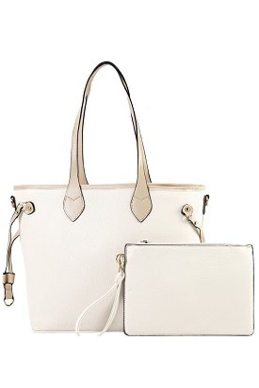 Courtland Faux Leather Shopper Tote - Beige - Madison and Mallory