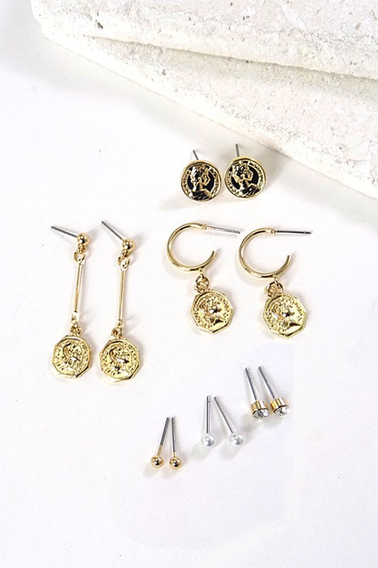 Natural Ambition Coin Earring Set - Madison and Mallory