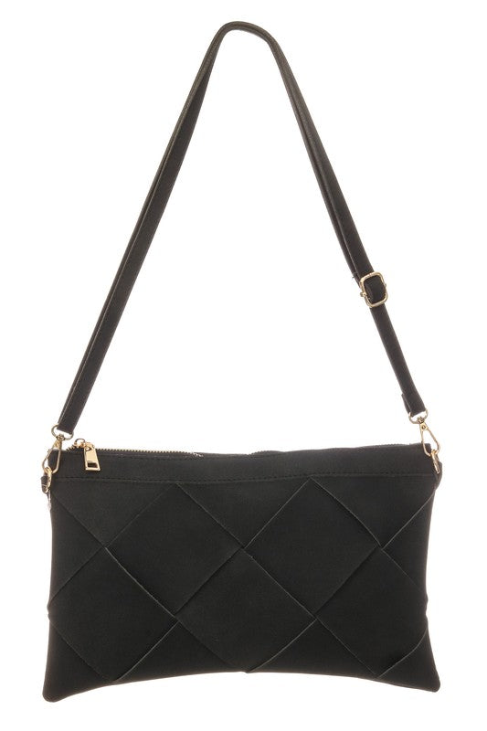 Kline Basket Weave Clutch Crossbody - Black - Madison and Mallory