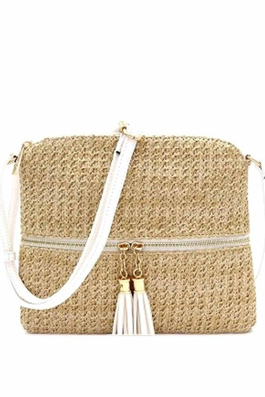 Palmetto Straw Tassel Crossbody Bag - FINAL SALE - Madison and Mallory