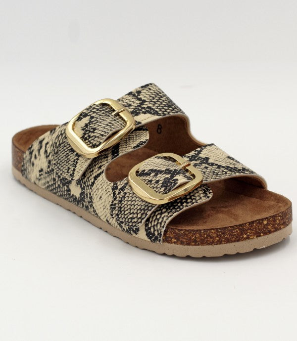 Sinclair Snake Buckle Sandals - Madison + Mallory