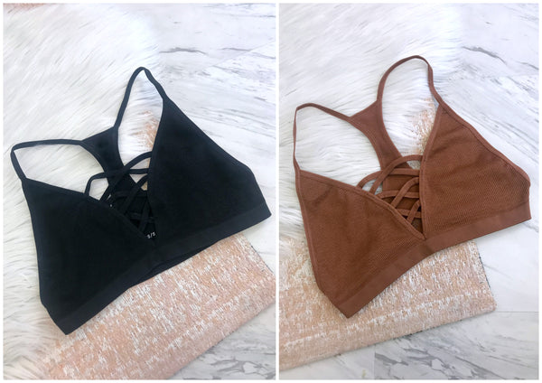 Seamless Cross Detail Bralette - FINAL SALE - Madison + Mallory