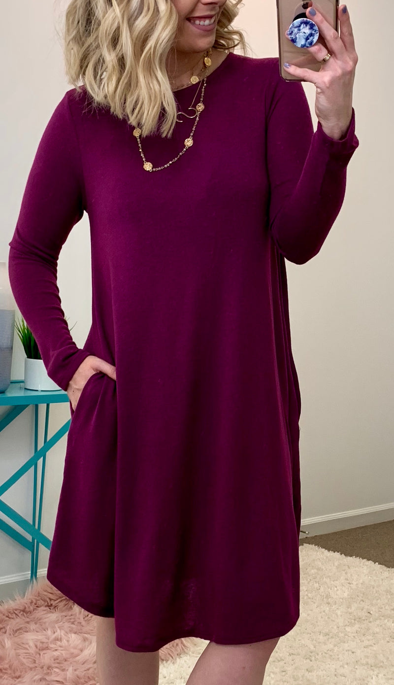 Plum / S Anaya Knit Sweater Dress - Madison + Mallory