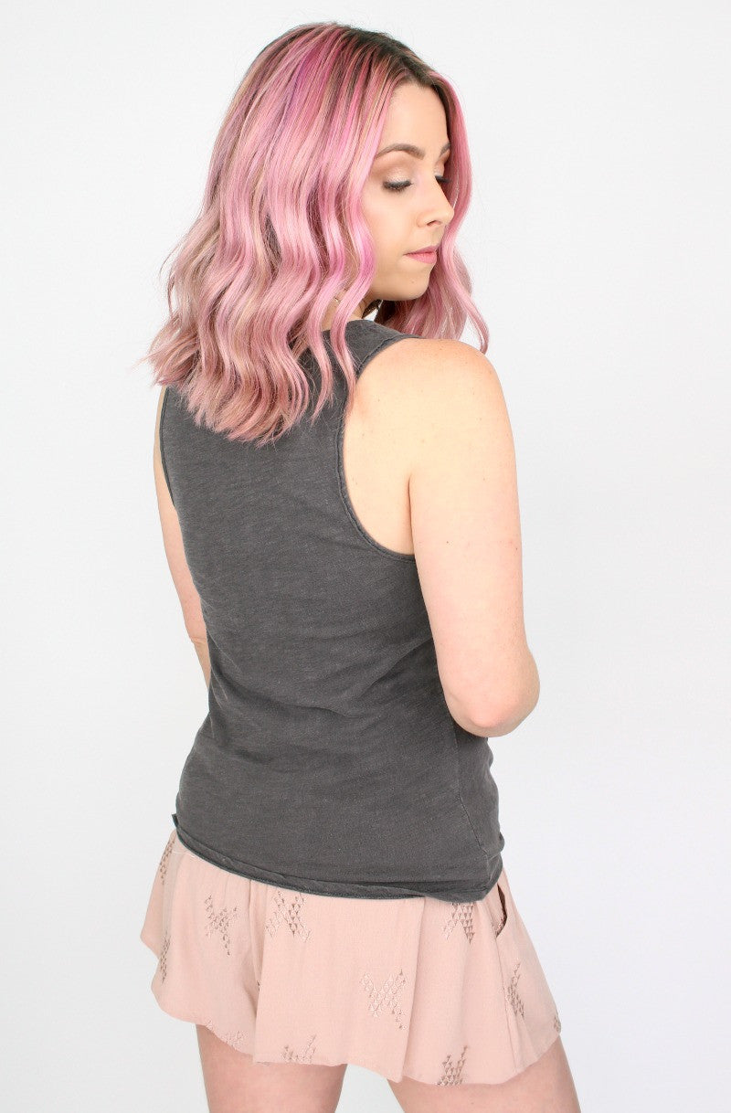 Mineral Washed Tie Front Tank Top - Madison + Mallory