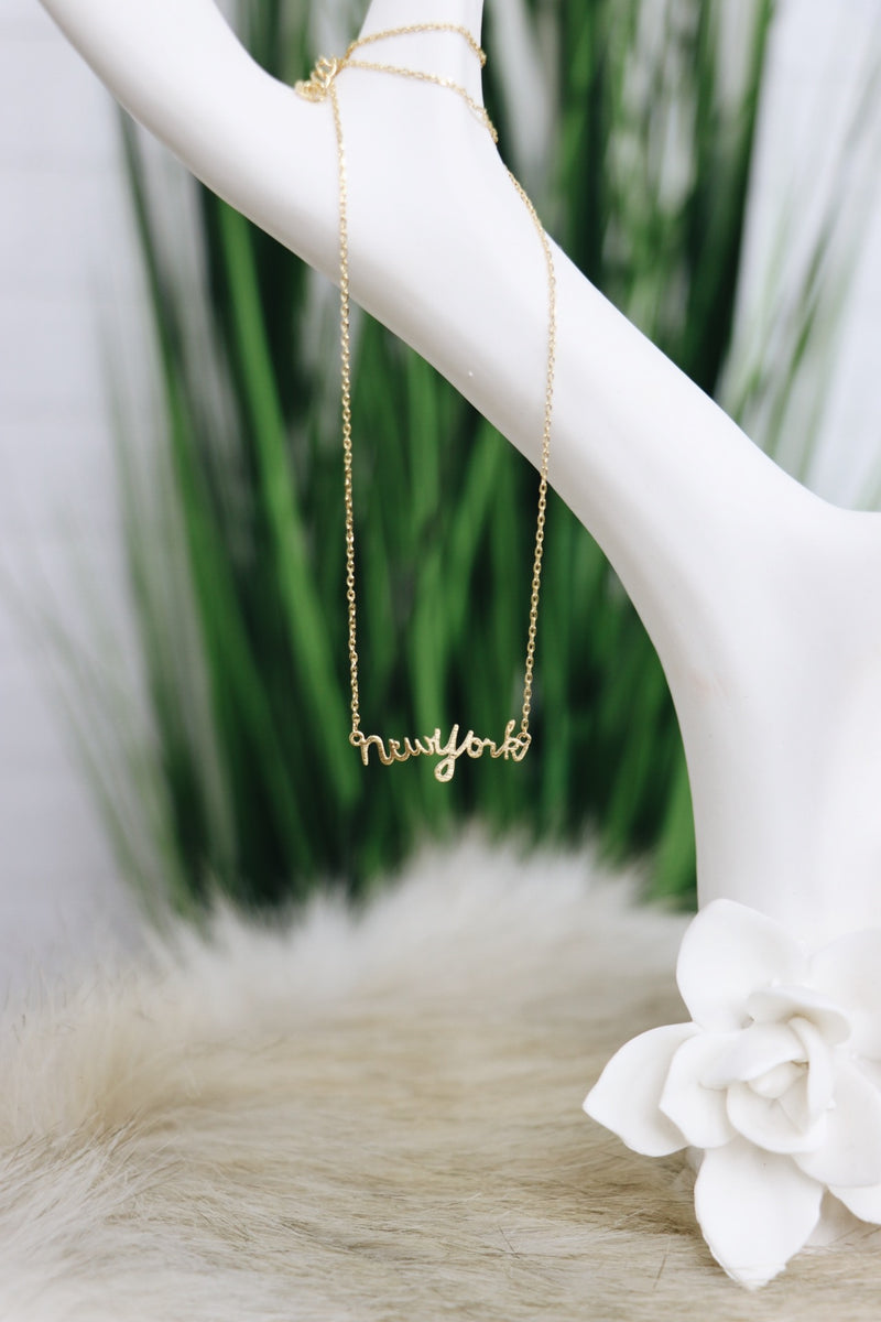 New York Script Necklace - Madison + Mallory