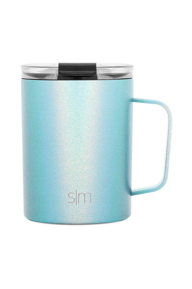 12oz. / Aqua Aura Simple Modern Scout Coffee Mug with Clear Flip Lid - 12oz - Madison and Mallory