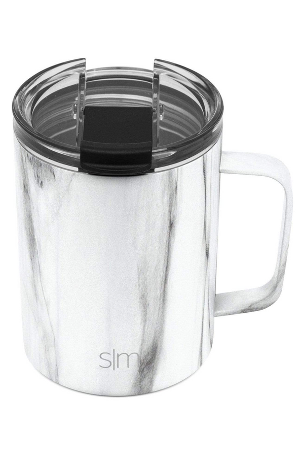 12oz. / Carrara Marble Simple Modern Scout Coffee Mug with Clear Flip Lid - 12oz - Madison and Mallory