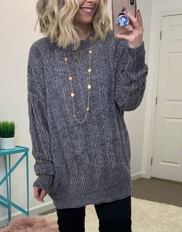 Gray / S Jayson Chenille Sweater - Madison + Mallory