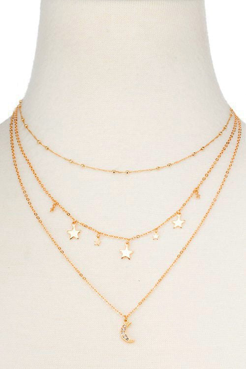 Lucky Moon Layered Necklace - Madison + Mallory