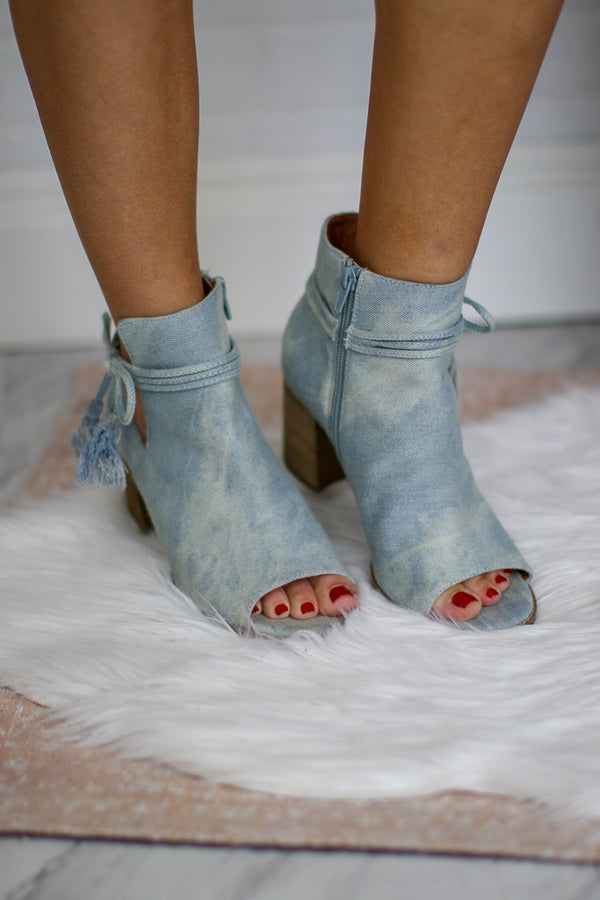 6 / Denim Alana Peep Toed Bootie - FINAL SALE - Madison + Mallory