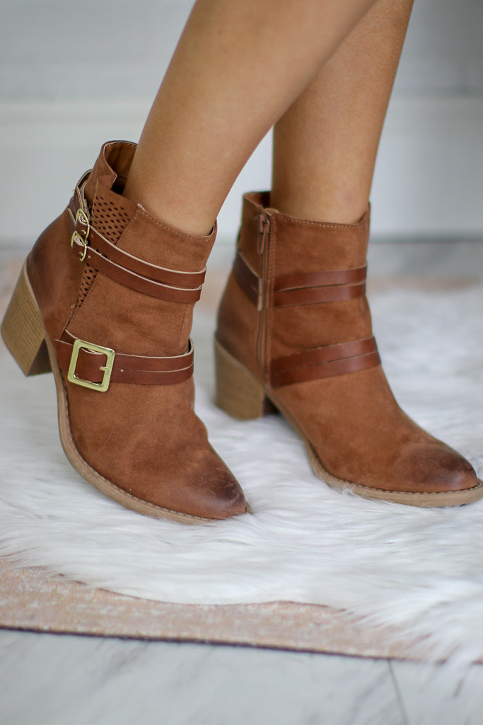 6 / Camel Camel Buckled Bootie - Madison + Mallory