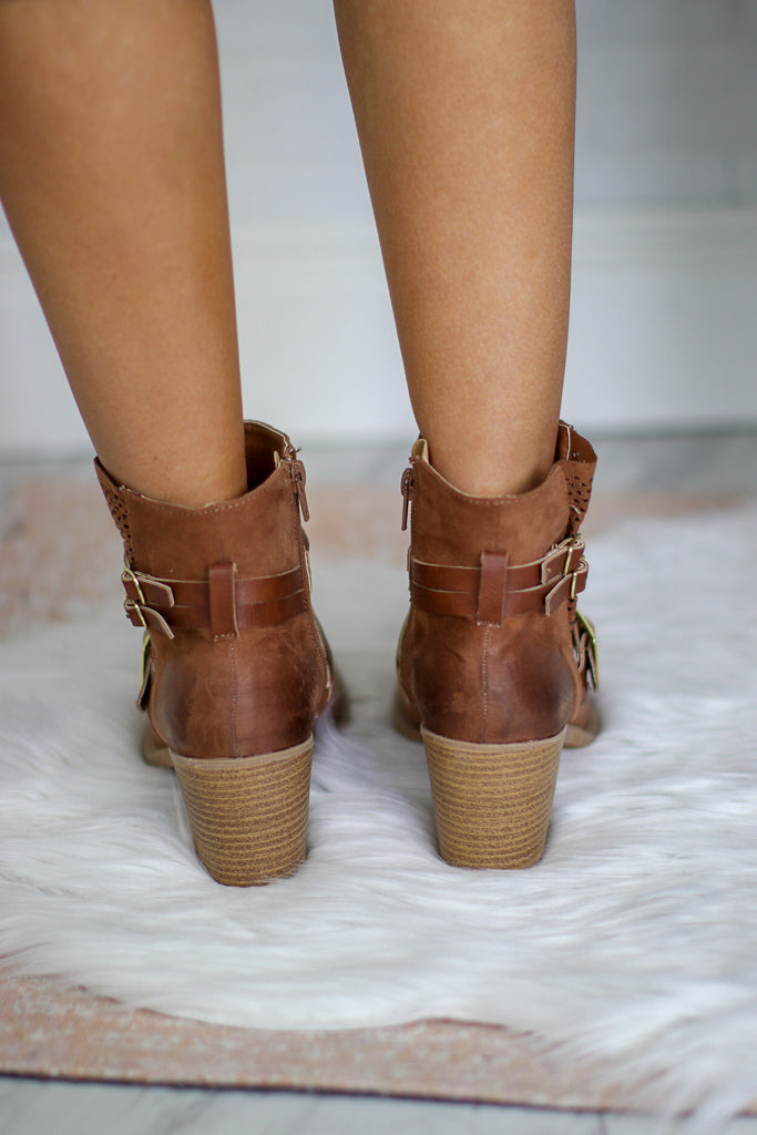 Camel Buckled Bootie - Madison + Mallory