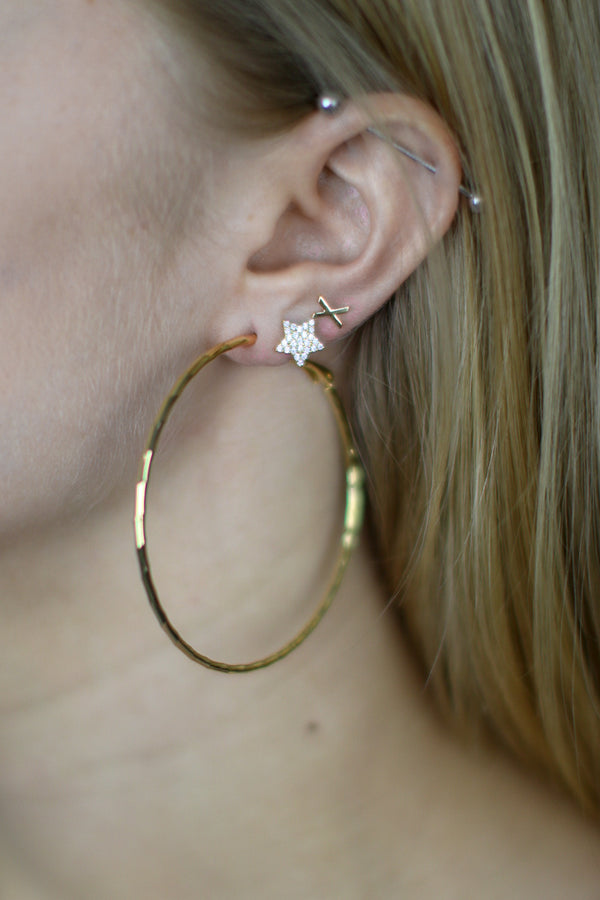 OS / GD Dazzle Me Gold Hoops - Madison + Mallory