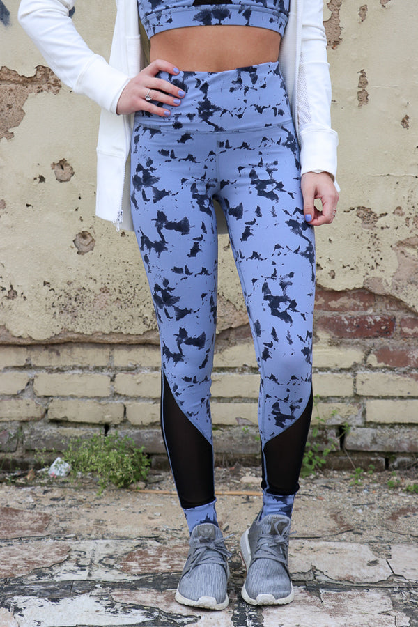 S / Blue Print Cloud Print Mesh Leggings - Madison + Mallory