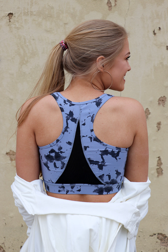 Cloud Print Mesh Sports Bra - Madison + Mallory