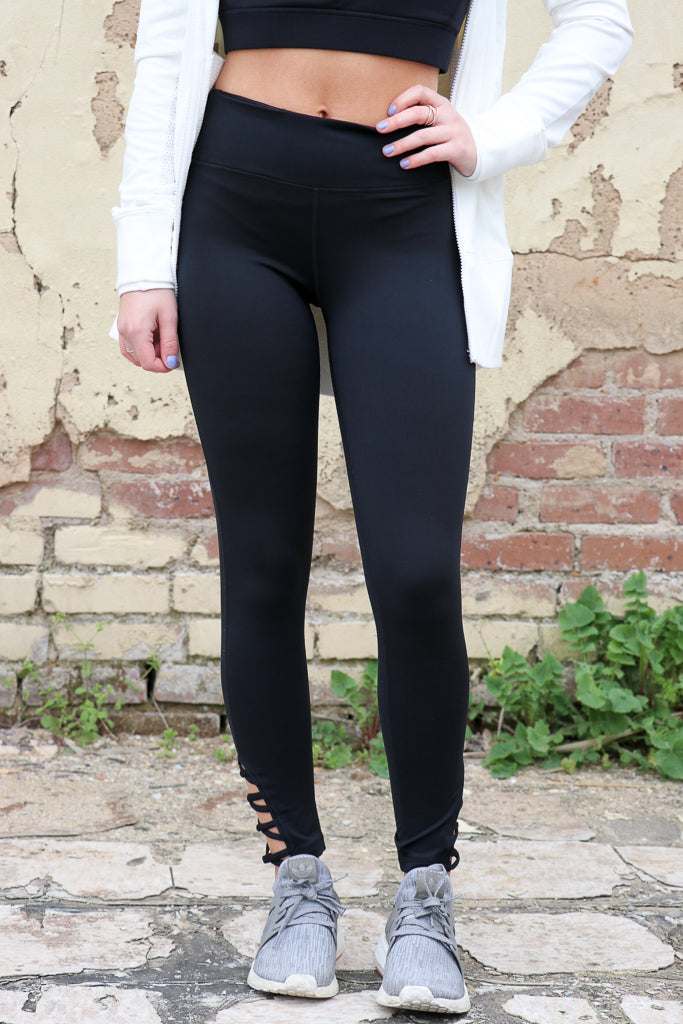 Black Criss Cross Side Cutout Leggings - Madison + Mallory