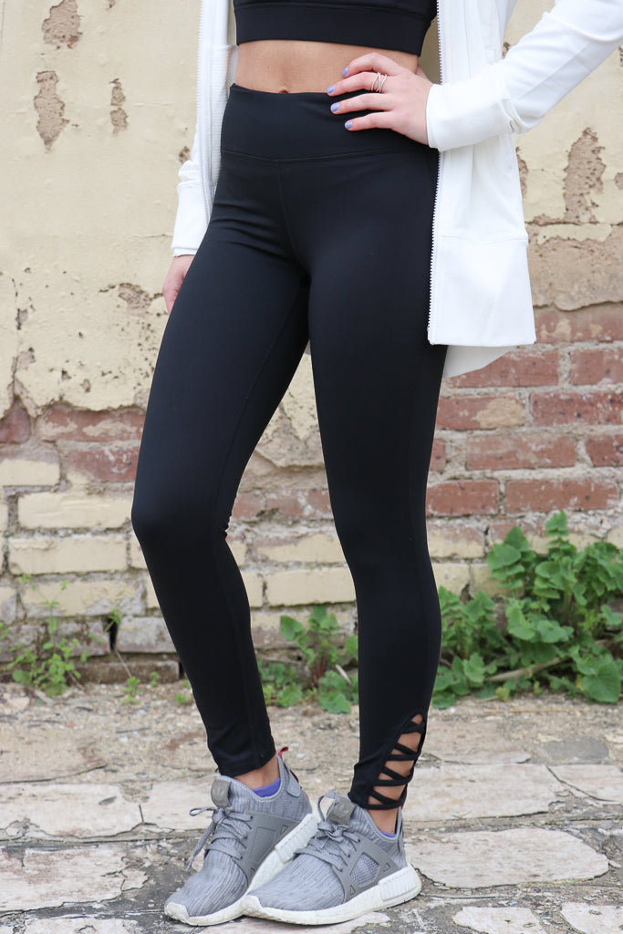 S / Black Black Criss Cross Side Cutout Leggings - Madison + Mallory