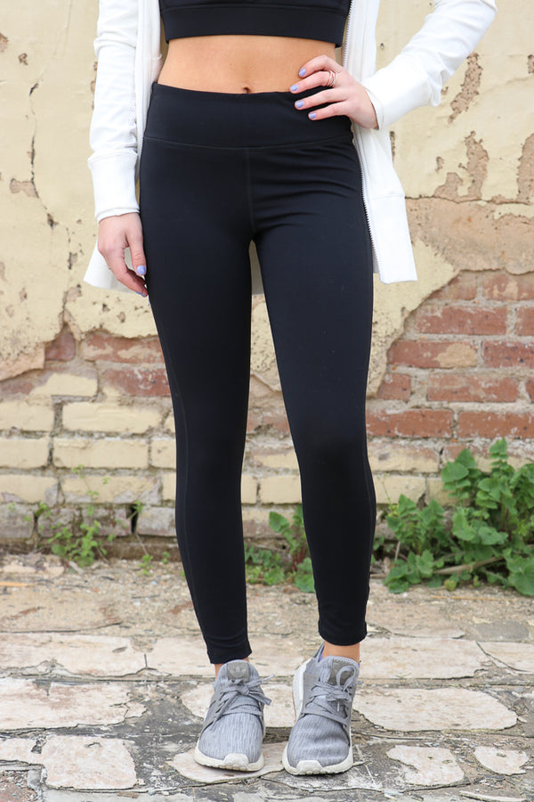 S / Black Black Criss Cross Cutout Accent Leggings - Madison + Mallory