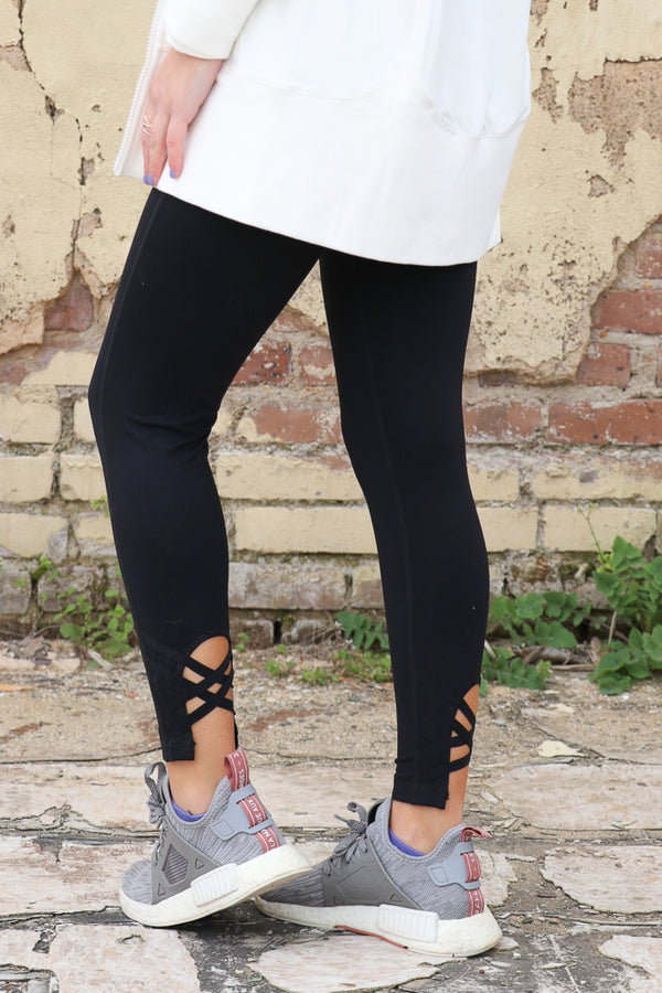 Black Criss Cross Cutout Accent Leggings - Madison + Mallory