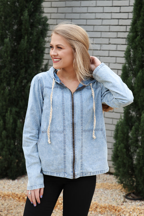 S / Washed Denim Washed Denim Hooded Jacket - Madison + Mallory