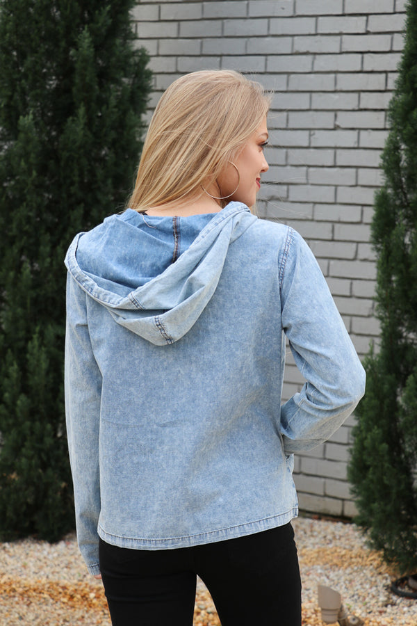 Washed Denim Hooded Jacket - Madison + Mallory