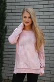 S / Pink/Gray Tie Dye Zipper Detail Sweatshirt - Madison + Mallory