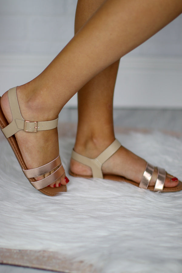 Rose Gold Strappy Sandals - FINAL SALE - Madison + Mallory