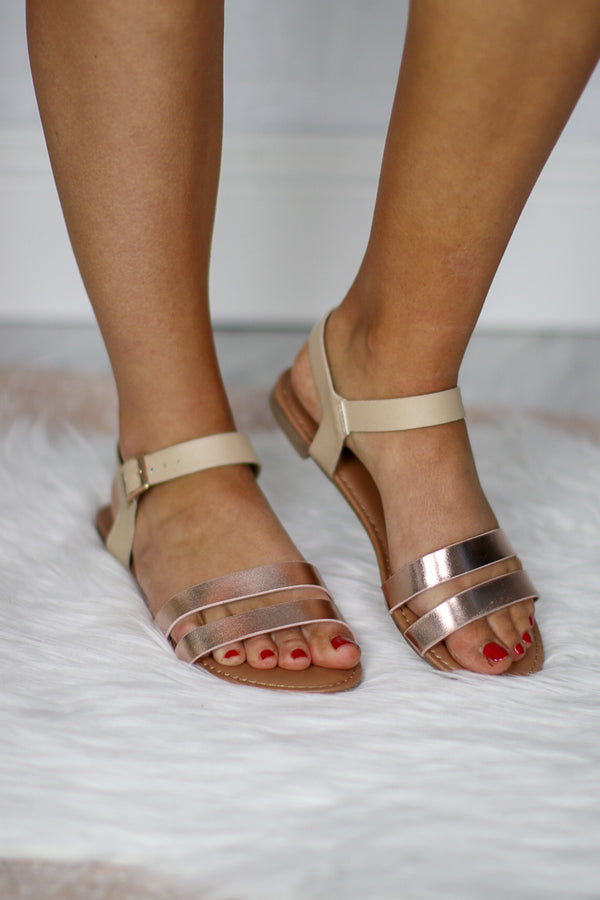 5.5 / Rose Gold Rose Gold Strappy Sandals - Madison + Mallory