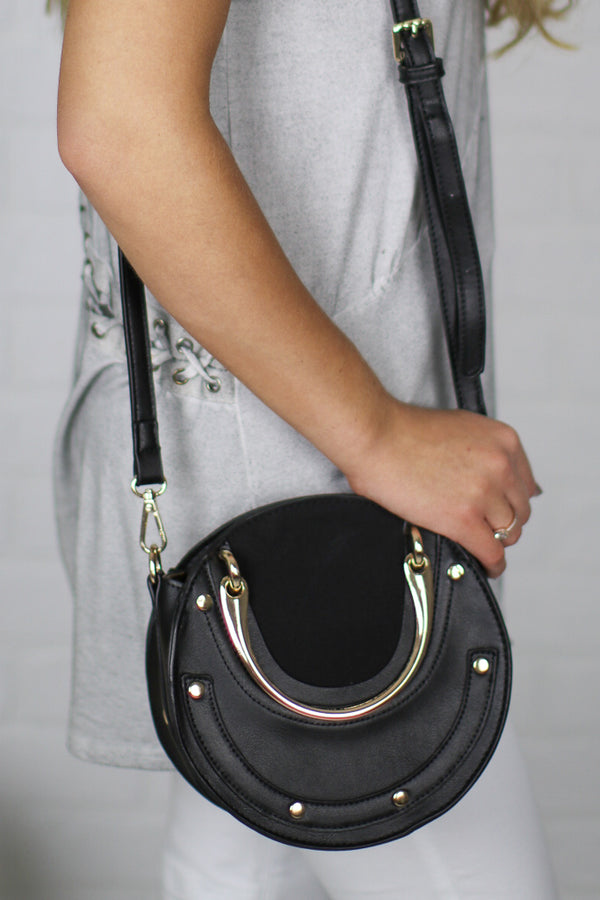 OS / Black Elsie Studded Crossbody - Madison + Mallory
