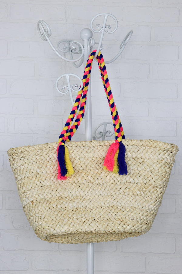Pom Pom Straw Tote - Madison + Mallory