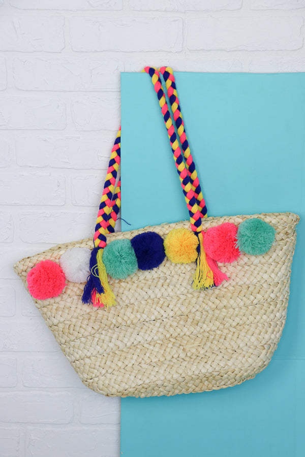 OS / Ivory Pom Pom Straw Tote - FINAL SALE - Madison + Mallory