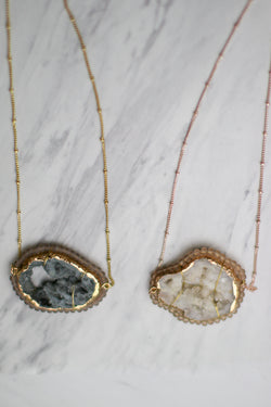 OS / Gray You Rock Druzy Necklace - Madison + Mallory