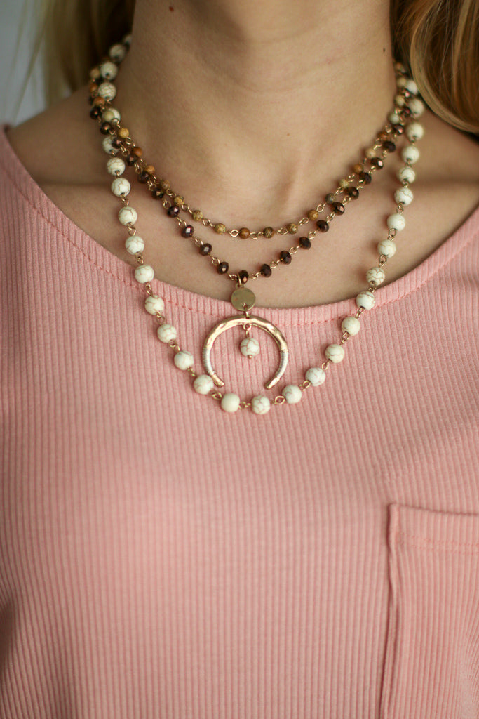 OS / Ivory Sworn Love Layered Necklace - Madison + Mallory