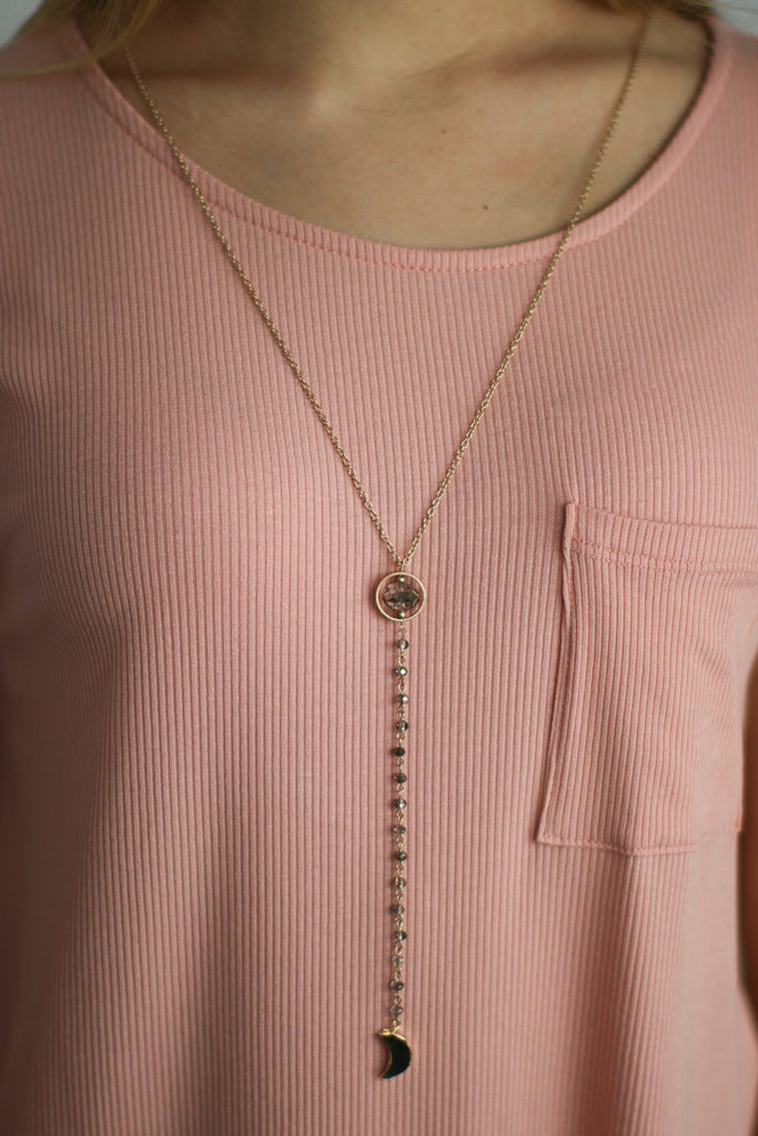 OS / Gold Some Nights Drop Necklace - Madison + Mallory