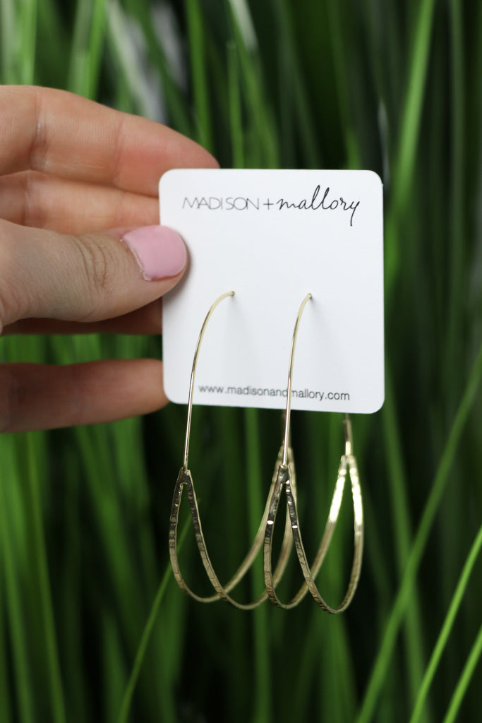 OS / Gold Oval Wire Hoops - Madison + Mallory