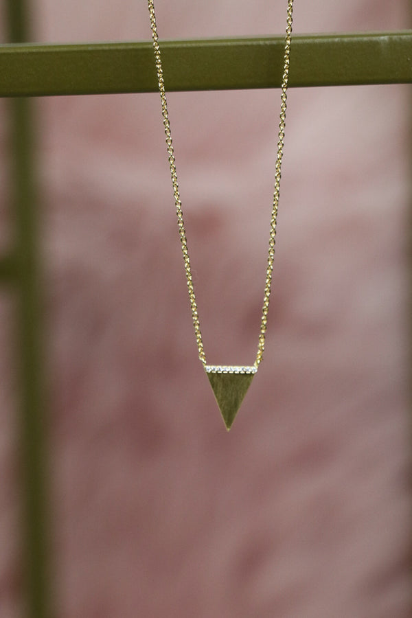 OS / Gold CZ Topped Delicate Triangle Necklace - Madison + Mallory